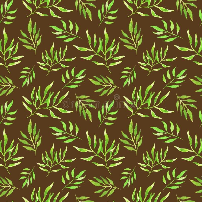 Zieleni akwarela liście na brązu tle bezszwowy wzoru obrazy stock