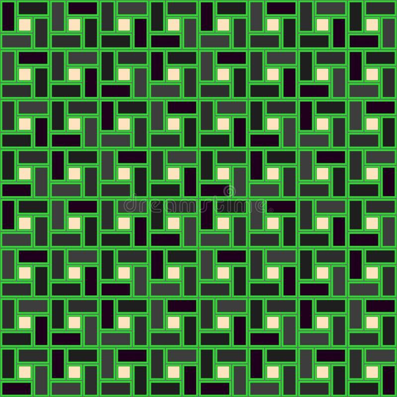 Zieleni cegły spirali płytki clockwise popielatej tekstury bezszwowy wzór ilustracji