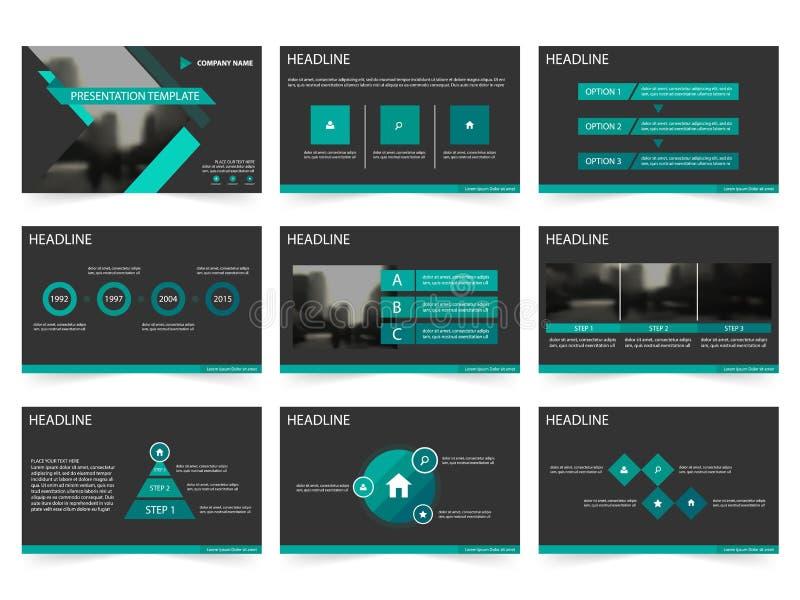 Zieleni czarni Abstrakcjonistyczni prezentacja szablony, Infographic elementów szablonu płaski projekt ustawiają dla sprawozdanie ilustracja wektor