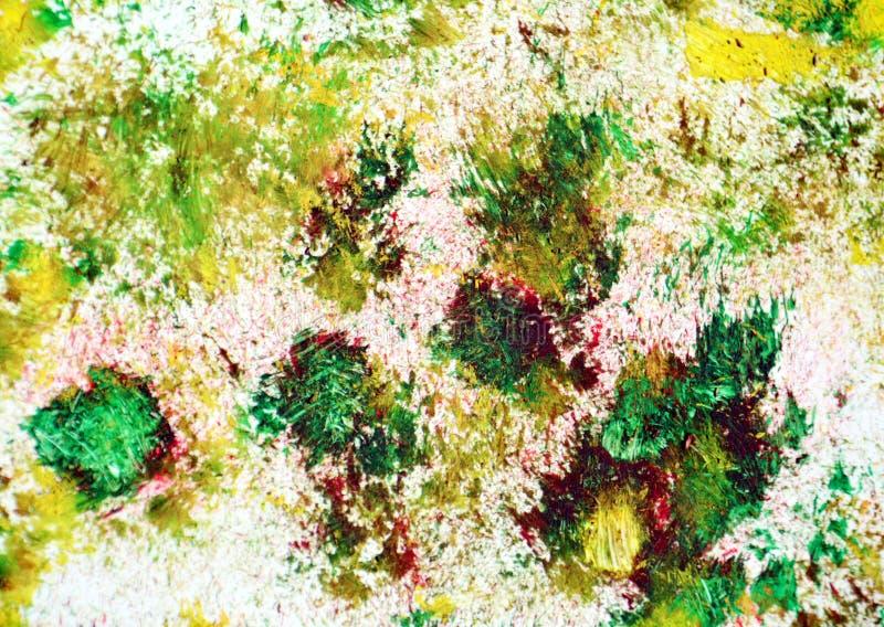 Zieleni czerwoni żółci ciemnych punktów kolory, zamazany obraz akwareli tło, abstrakcjonistyczny obraz akwareli tło ilustracja wektor