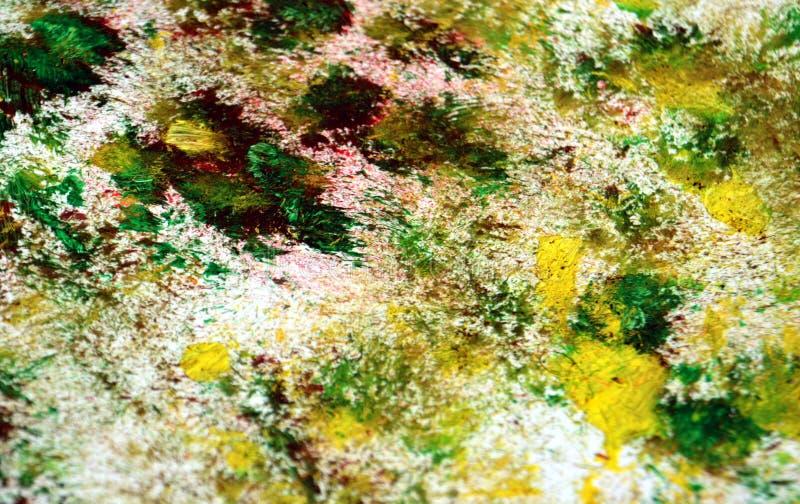 Zieleni czerwoni szarzy żółci kolory, zamazany obraz akwareli tło, abstrakcjonistyczny obraz akwareli tło ilustracja wektor