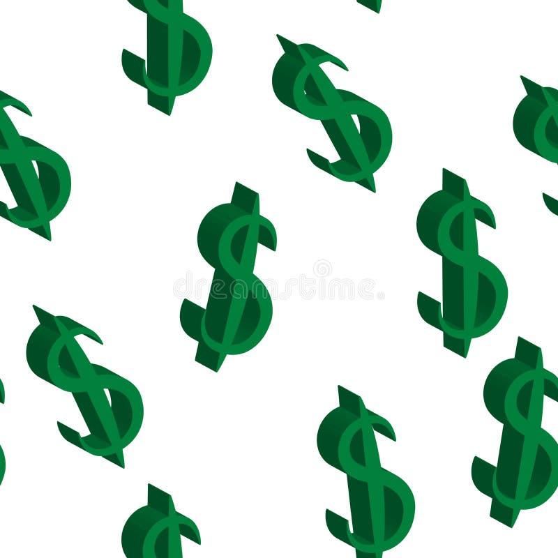 Zieleni dolarowi pieniędzy ten sam rozmiar bezszwowy wzoru również zwrócić corel ilustracji wektora royalty ilustracja