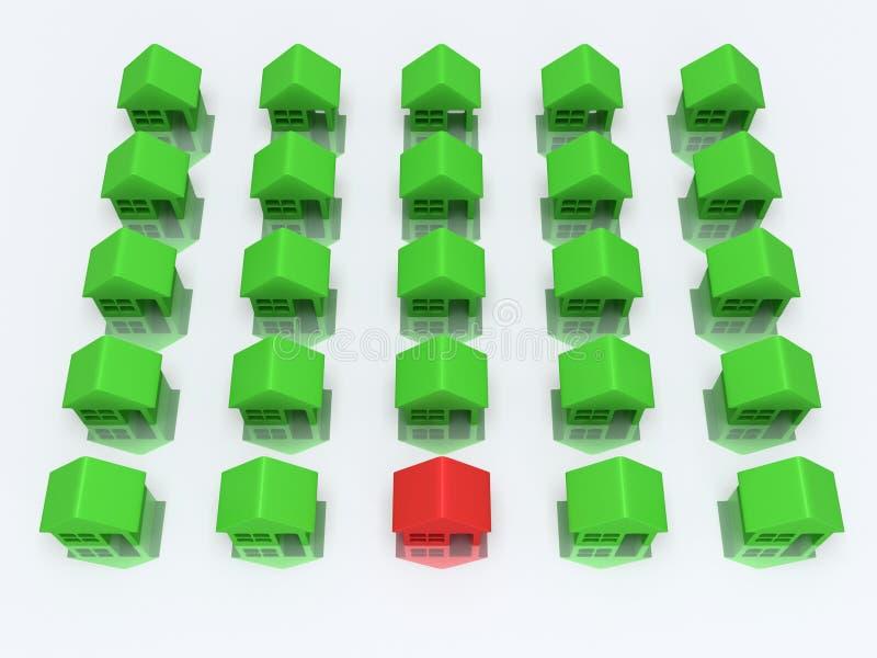 Zieleni domy jeden i czerwień. 3d odpłacają się. ilustracja wektor