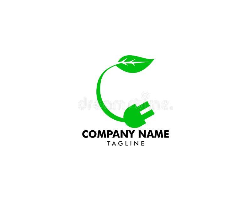 Zieleni Energetyczni ikona logo elementy, Eco wtyczkowa ikona, Elektryczna prymka z zielonym liściem royalty ilustracja