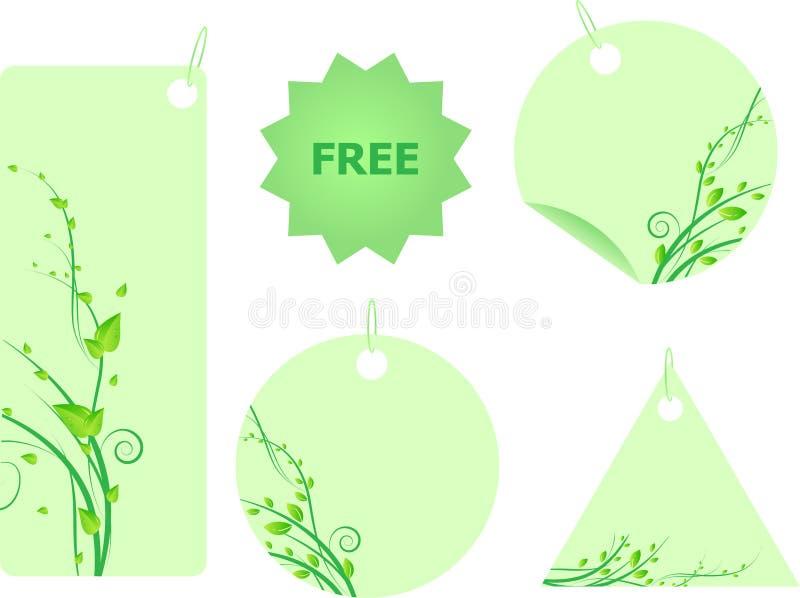 zieleni etykietek liść ustawiający zawijas ilustracji