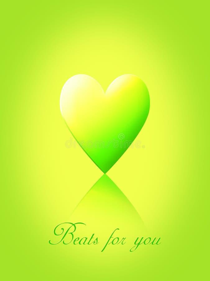 Zieleni i kolor żółty miłości serce ilustracja wektor
