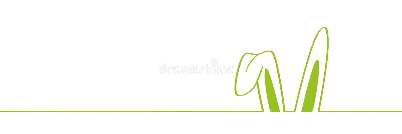 Zieleni królików ucho graniczą na białym tła Easter projekcie ilustracji