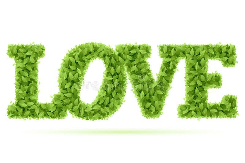 zieleni liść miłości słowo ilustracji