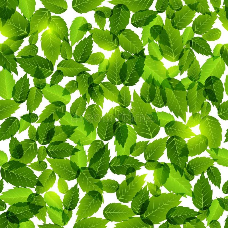 zieleni liść wzór bezszwowy royalty ilustracja