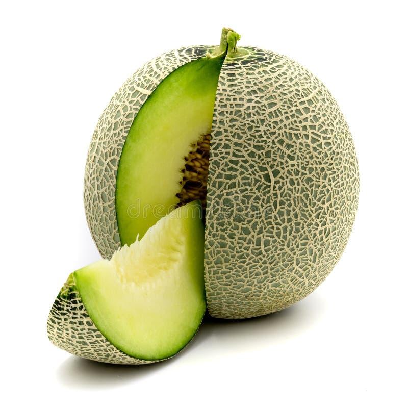 Zieleni melonów plasterki odizolowywający na białym tle obraz royalty free