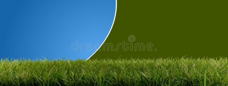 Zieleni ostrza trawy 3d-illustration abstrakt zaokrąglali tło ilustracja wektor