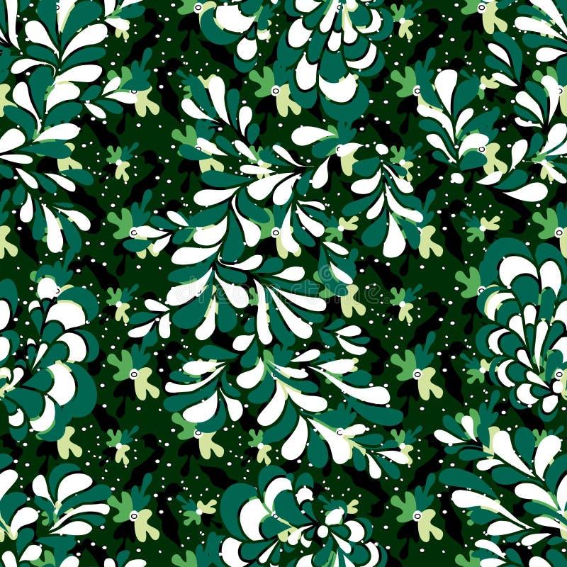 Zieleni płatki drzewa kolorowy abstrakcjonistyczny bezszwowy tło ilustracja wektor