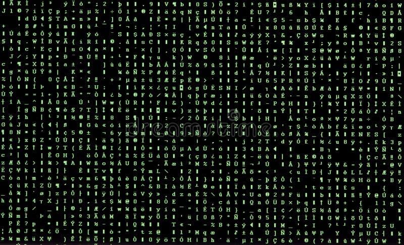 Zieleni przypadkowi charaktery na komputerowym monitorze po oprogramowania s zdjęcia royalty free
