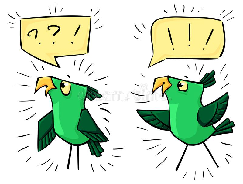 Zieleni ptaki z bąblami - emocji szczęście i chandra ilustracji