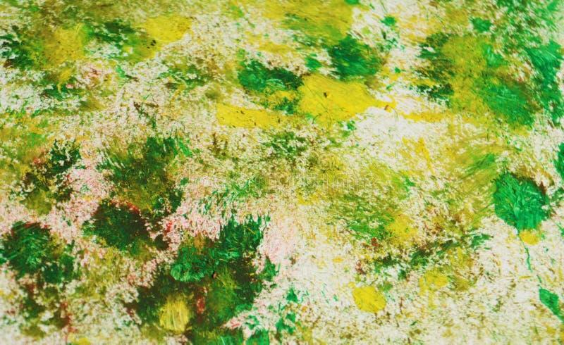 Zieleni szarzy żółci kolory, zamazany obraz akwareli tło, abstrakcjonistyczny obraz akwareli tło ilustracja wektor