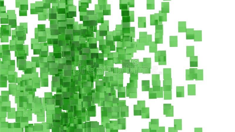 Zieleni szklani bloki przypadkowo ustawiający w przestrzeni z białym tłem ilustracji