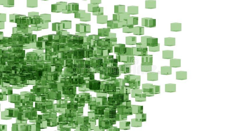 Zieleni szklani bloki przypadkowo ustawiający w przestrzeni z białym tłem royalty ilustracja