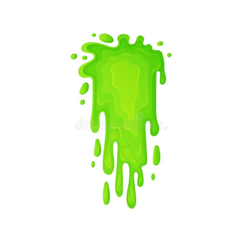 Zieleni szlamowy lub toksyczny ciekły spływanie opuszcza kreskówki wektorową ilustrację odizolowywającą ilustracji