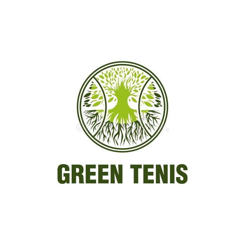 Zieleni tenisowi logo projekty, dojrzały logo pojęcie ilustracji
