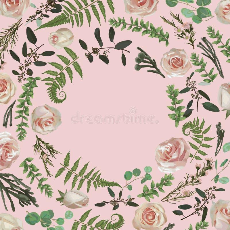 Zieleni wektorowi wianek ramy kwiaty i liście Lasowa paproć, ziele, eukaliptus, gałąź boxwood, buxus, brunia, wzrastał botaniczny ilustracja wektor