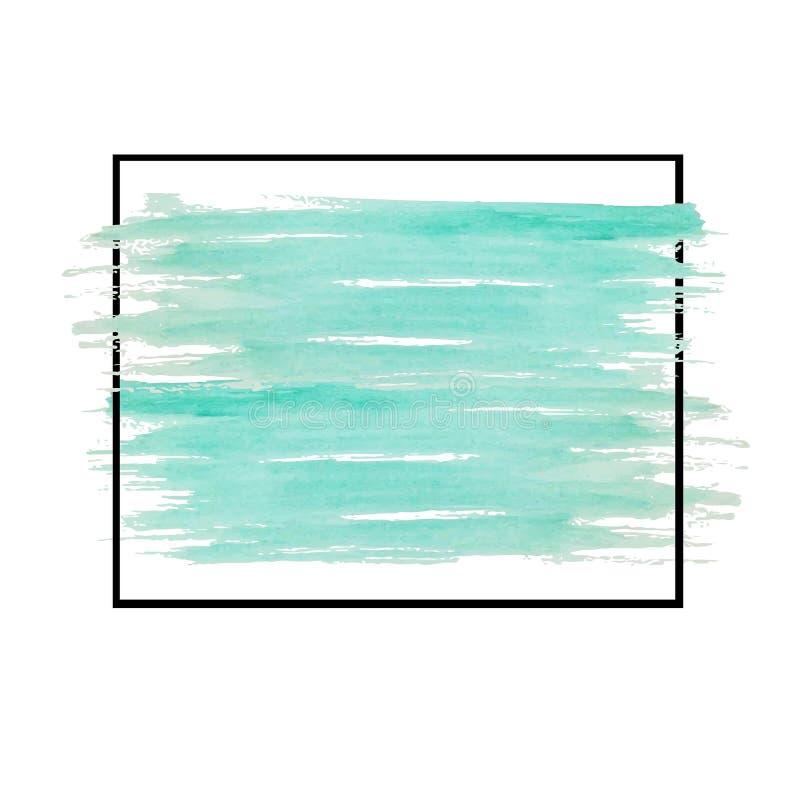 Zieleni wodnego koloru muśnięcia uderzenia w czerni ramie na bielu ilustracja wektor