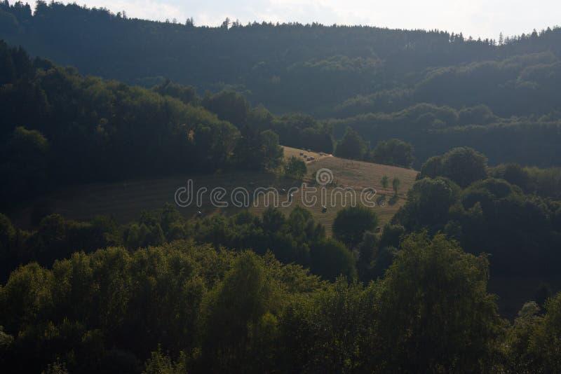 Zieleni wzgórza przy Morawskim Kopanice regionem w republika czech na granicach z Sistani blisko miasteczk Vapenice i fotografia stock