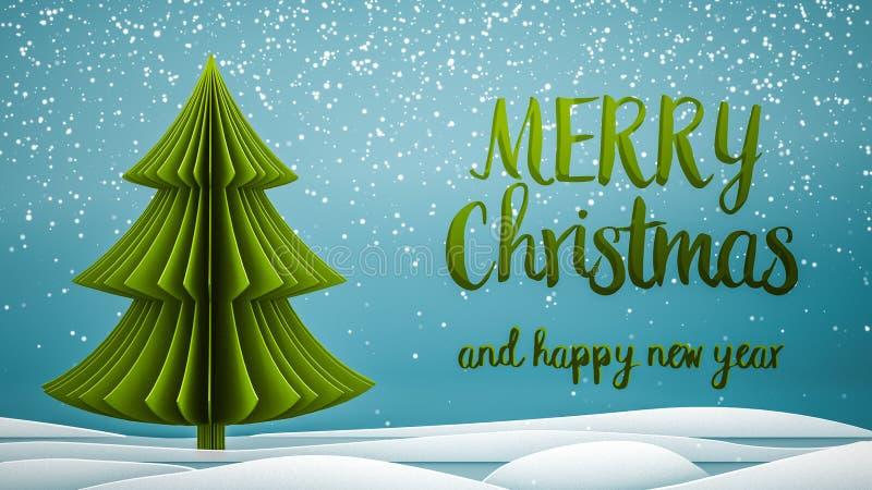 Zieleni xmas drzewni Wesoło boże narodzenia i Szczęśliwa nowego roku powitania wiadomość w angielskim na błękitnym tle, śnieżni p royalty ilustracja