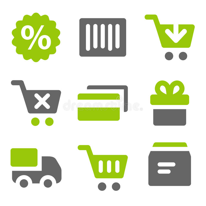 zielenieje popielatych ikon kreskową zakupy bryły sieć ilustracja wektor