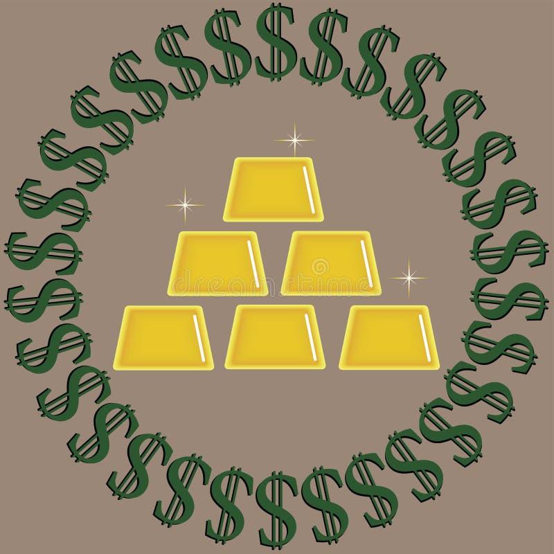 Zielenieje z czarnymi dolarowymi znakami otacza z?ocistych b?yskotliwych ingots odizolowywaj?cych na be?owym tle ilustracji