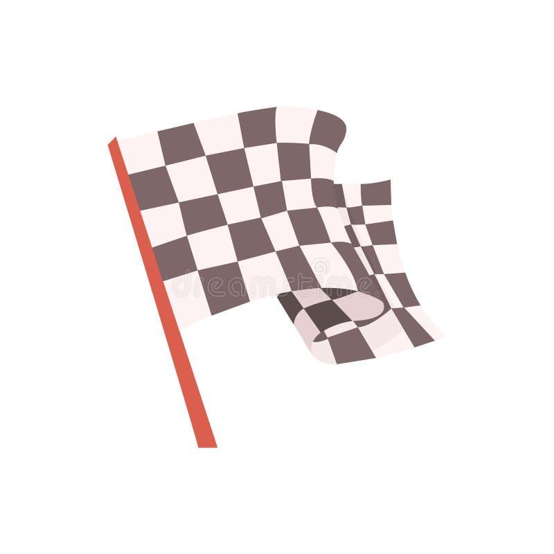 Zielflagge für das Rennstartsignal, in Verbindung stehendes Gegenstand-Teil des Rennläufer-Attribut-Illustrations-Satzes laufend lizenzfreie abbildung