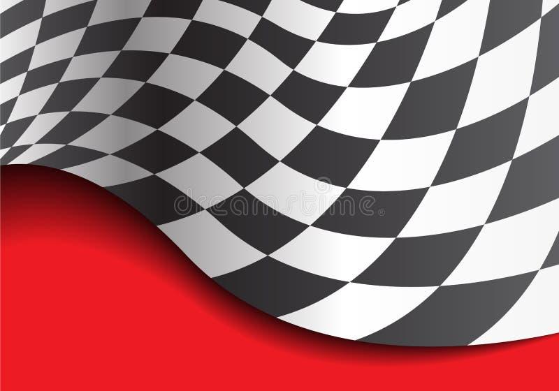 Zielflaggewelle auf rotem Designrennmeisterschafts-Hintergrundvektor lizenzfreie abbildung