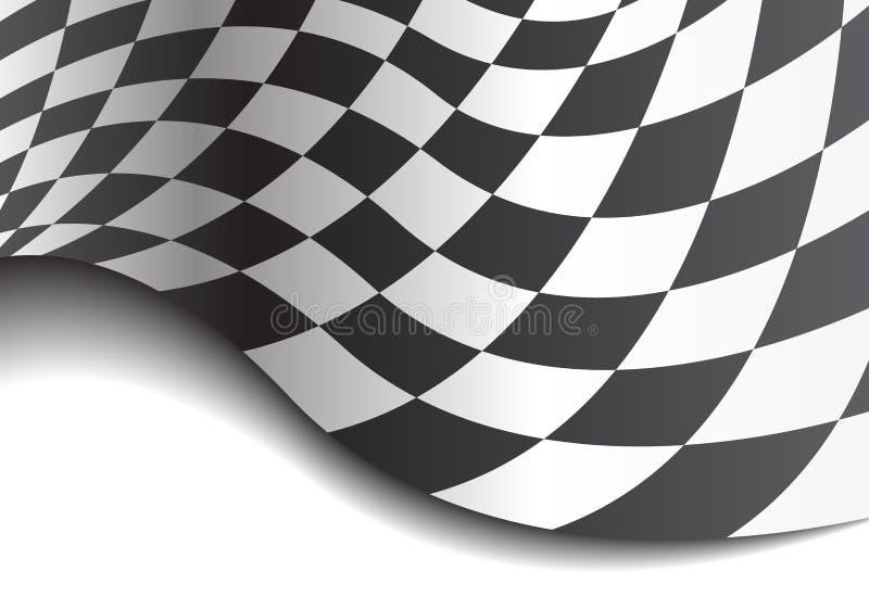 Zielflaggewelle auf weißem Designrennmeisterschafts-Hintergrundvektor stock abbildung