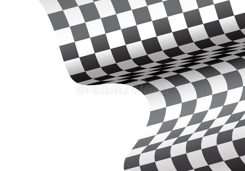 Zielflaggewelle auf weißer Leerstelle für Textplatzdesign lizenzfreie abbildung