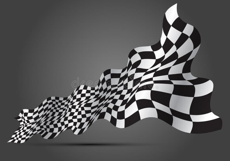 Zielflaggewelle 3D auf grauem Designsportrennmeisterschafts-Hintergrundvektor stock abbildung