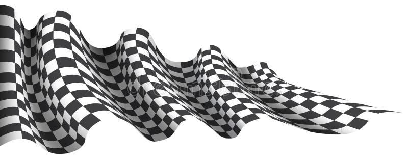 Zielflaggewellenfliegen auf Weiß für Sportrennmeisterschaftsgeschäfts-Hintergrundvektor stock abbildung