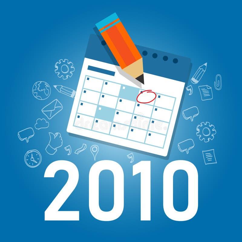 Zielkalender 2010 für das neue Jahr Terminerinnerungsdienst für Unternehmen oder Personen verwalten lizenzfreie abbildung