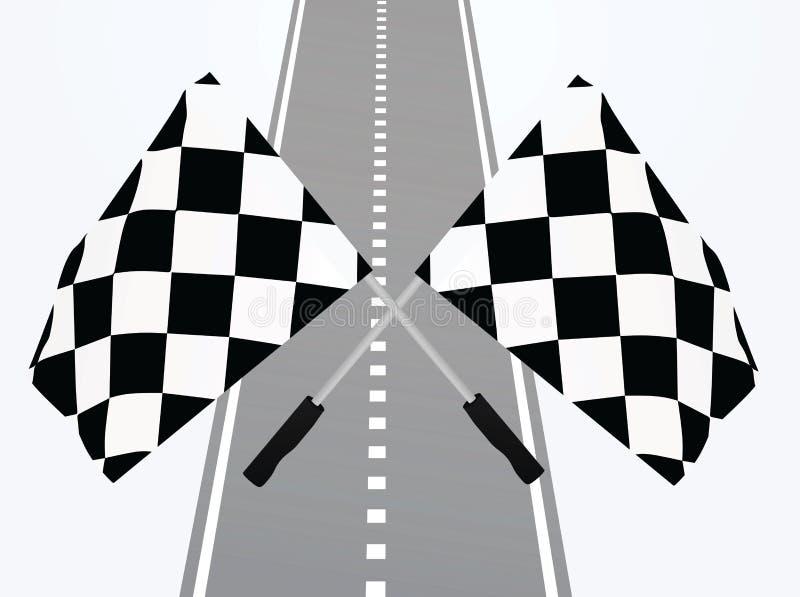 Ziellinie mit Flaggen vektor abbildung
