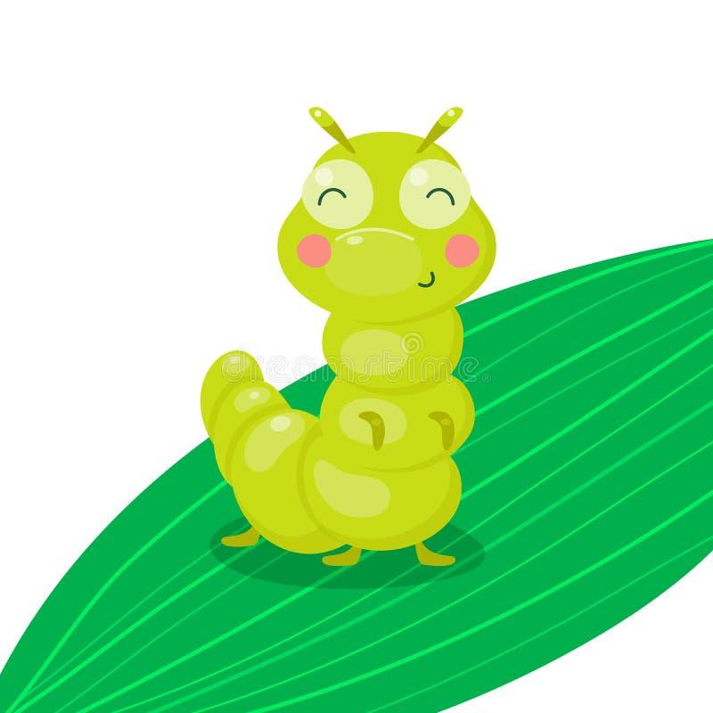 Zielona śmieszna uśmiechnięta śliczna gąsienica na liściu Insekta charakter dla dziecka i dzieci wektorowa ilustracja, kresk?wka royalty ilustracja