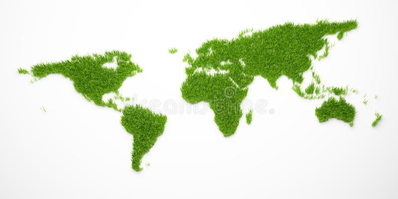 Zielona światowa mapa royalty ilustracja