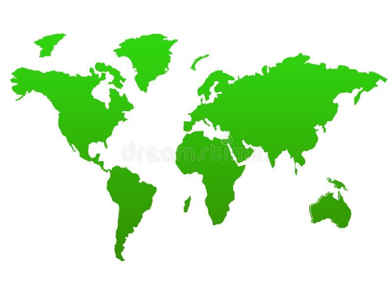 Zielona Światowa mapa reprezentuje środowiskowych globalnych cele - kartografuje obrazek odizolowywającego na białym tle zdjęcia stock