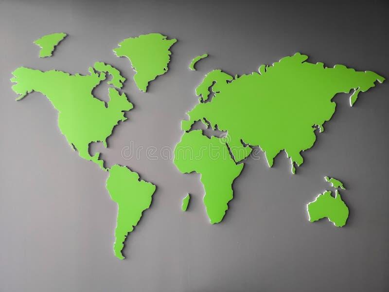 Zielona Światowa mapa reprezentuje środowiskowych globalnych cele - kartografuje obrazek odizolowywającego na szarym gradientowym royalty ilustracja