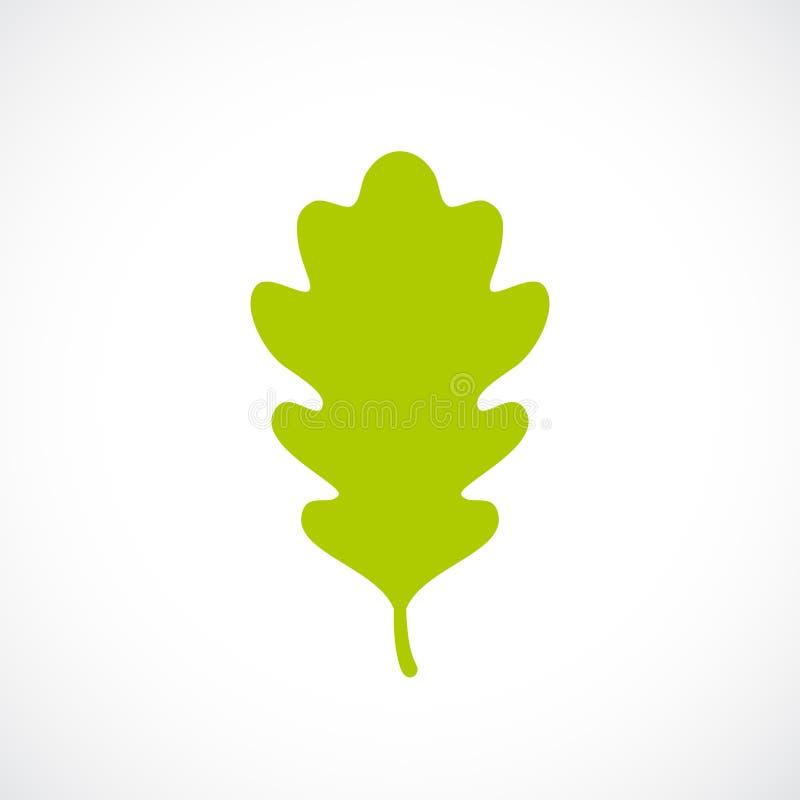 Zielona świeża dębowa liść ikona ilustracji