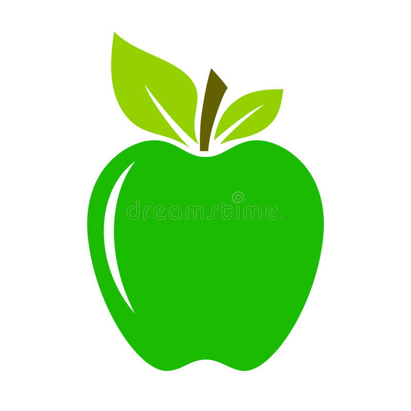 Zielona świeża wektorowa jabłczana ikona royalty ilustracja