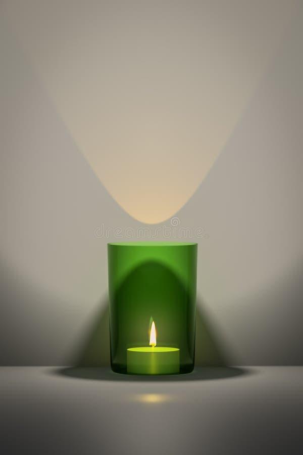 zielona świeczka z przestrzenią dla twój zawartości royalty ilustracja