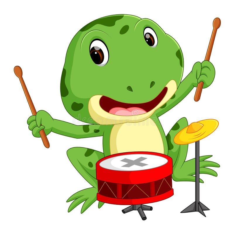 Zielona żaba bawić się bęben ilustracji