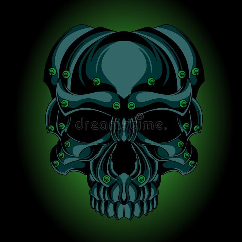 Zielona żelazna czaszka ilustracji