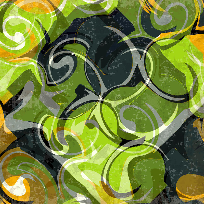 Zielona abstrakcjonistyczna retro stylowa grunge skutka wektoru ilustracja ilustracja wektor