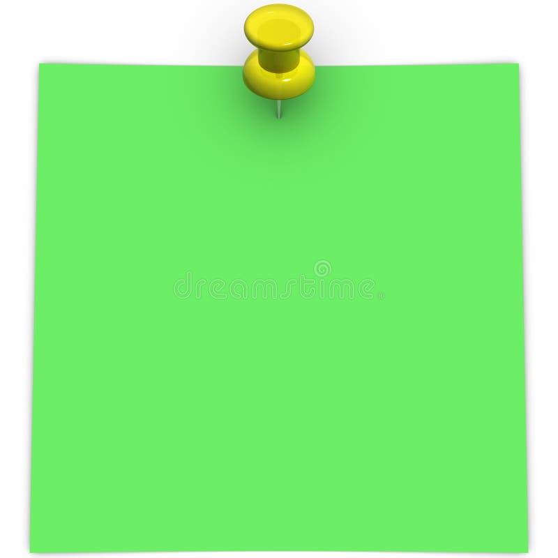 Zielona adhezyjna notatka z żółtym thumbtack fotografia royalty free