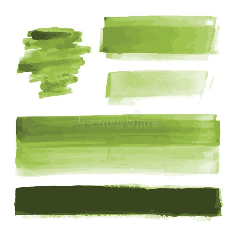 Zielona akwarela kształtuje, splotches, plamy, farby muśnięcia uderzenia Abstrakcjonistyczni akwareli tekstury tła ustawiający obraz stock