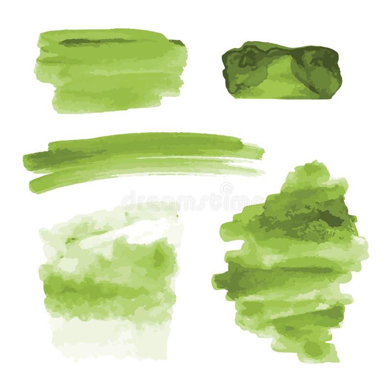 Zielona akwarela kształtuje, splotches, plamy, farby muśnięcia uderzenia Abstrakcjonistyczni akwareli tekstury tła ustawiający zdjęcia stock